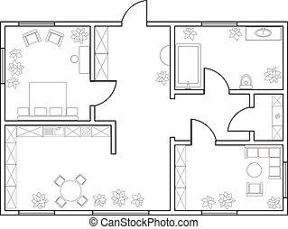 resumen, vector, plan, de, one-bedroom, apartamento