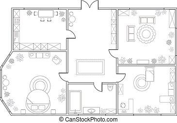 resumen, vector, plan, de, two-bedroom, apartamento