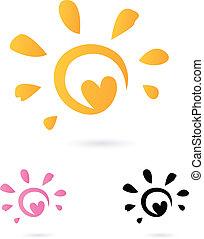 resumen, vector, sol, icono, con, corazón, -, naranja, y,...