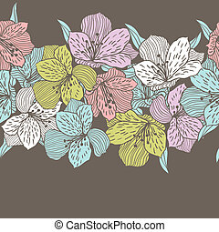 resumen, vendimia, seamless, pauta flor, con, orchid.