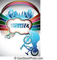 resumen, verano, composición, con, bmx, biker, silueta