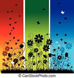 resumen, verano, plano de fondo, flores, y, mariposas