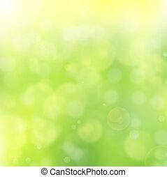 resumen, verde, bokeh, plano de fondo