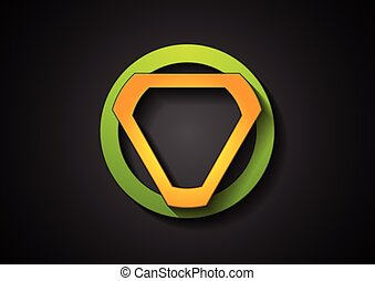 resumen, verde, naranja, geométrico, logotipo, diseño