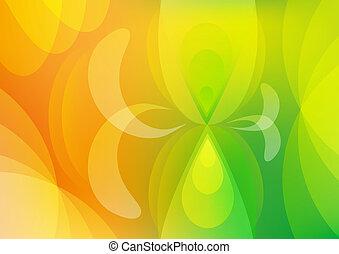 resumen, verde, y, fondo anaranjado, papel pintado