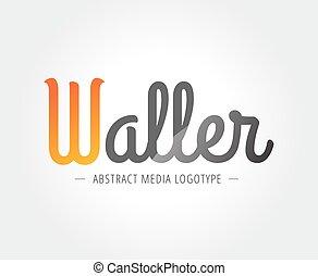 resumen, w, carácter, vector, logotipo, plantilla, para,...