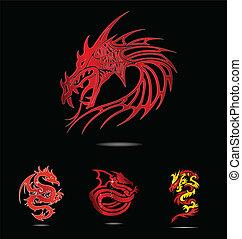 resumen, y, tradición, religión, rojo, dragones