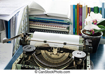 resume:vintage, inscriptie, gemaakt, door, oud, typemachine