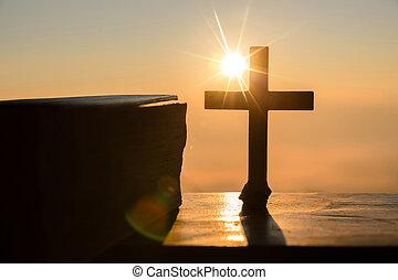resurrección, de, jesucristo, concept:, silueta, cruz, en, colina, salida del sol, plano de fondo