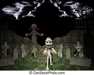resurrección, halloween, night., muerto