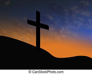 resurrección, símbolo, cruz, salida del sol