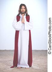Resurrected Jesus Christ praying