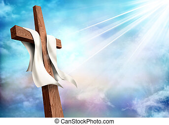 Resurrection. Christian cross with clouds sky background. Life after death