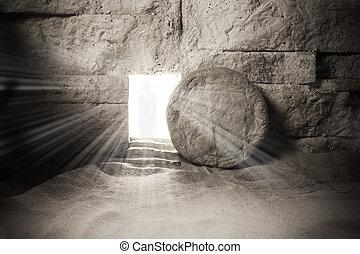 resurrection., jésus, chrétien, paques, christ, concept, tombe, jesus.