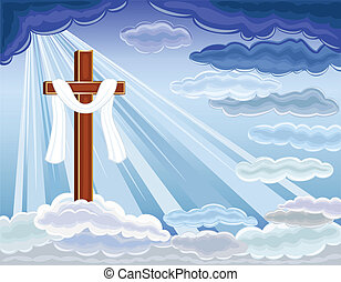 Easter religious card with the resurrection of hope and golden cross. Over blue sky. Vector file saved as EPS AI8, all elements layered, no effects, easy print and edit.