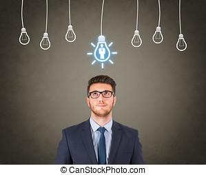 resurs, mumla, över, idé, lysande, mänsklig