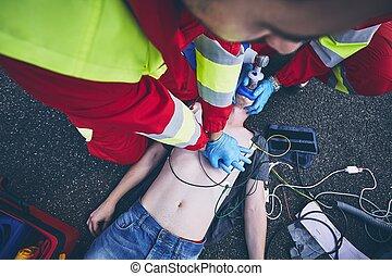 resuscitation cardiopulmonary, ligado, estrada