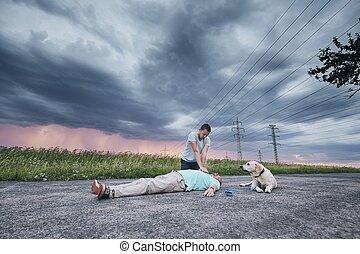 resuscitation, estrada, e, leal, cão