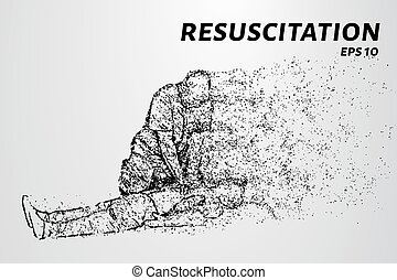 Resuscitation of the particles. People doing CPR on the...