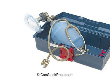 Resuscitator( ambu-bag ) with Stethoscope in emergency box