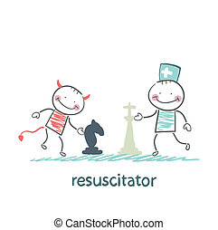 resuscitator carry on a stretcher patientresuscitator plays chess with the devil