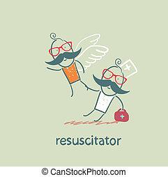 resuscitator keeps flying away into the sky patient