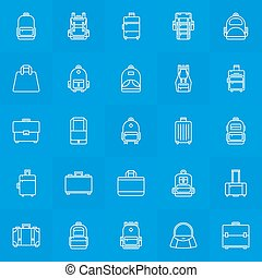 resväska, handväska, ryggsäck, ikonen