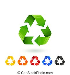 Resycle icons set. Waste sorting, segregation. Different colored recycle signs. Waste management concept. Separation of garbage for recycling metal plastic paper glass organic.