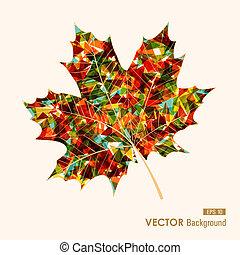 reszelő, levél növényen, elements., színes, évad, elvont, könnyen, ősz, háttér., vektor, transzparens, bukás, eps10, geometriai, szerkesztés, áttetsző