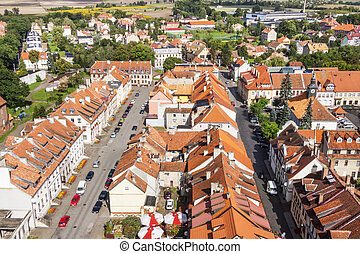 Aerial view on old town of Reszel - Poland.