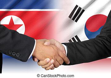reszkető kezezés, közül, dél-korea, és, észak korea