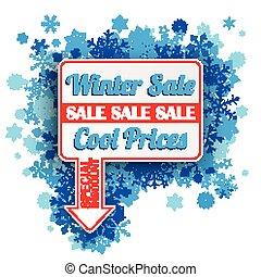 retângulo, azul, inverno, venda, ponteiro, snowflakes, seta