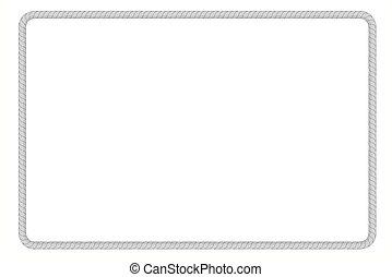 retângulo, quadro, de, cinzento, corda, para, seu, elemento, desenho, isolado, branco