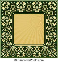 retângulo, quadro, ouro