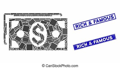 retângulo, selos, mosaico, arranhado, dólar, selo, notas