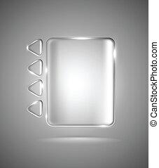 retângulo, triângulos, transparente, vidro