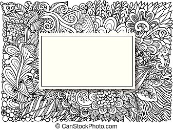 retângulo, vazio, flores