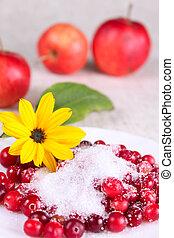 ret, hvid blomstr, cowberry, sukker