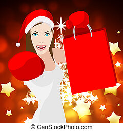reta, kvinna, inköp, jul, medel