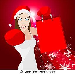 reta, kvinna, inköp, jul, visar