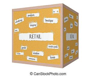 Retail 3D cube Corkboard Word Concept