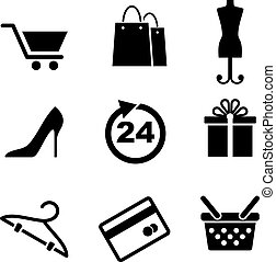 Retail and shopping icons depicting a shopping cart, bags, tailors dummy, stiletto shoe, dress size, gift, hanger, credit card and shopping bag