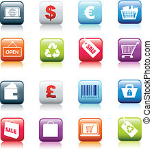 illustration series of retail and shopping square web icon buttons
