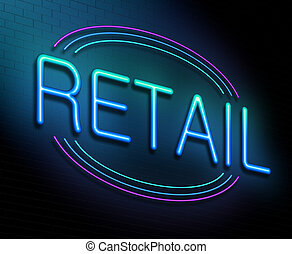 Illustration depicting an illuminated neon sign with a retail concept.