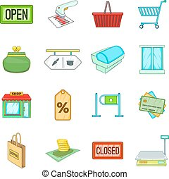 Retail icons set, cartoon style