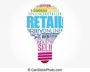 Retail light bulb word cloud collage, business concept background