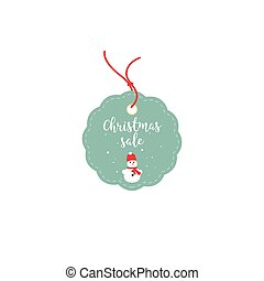Retail Sale Tags and Clearance Tags. Festive christmas design with snowflakes and snowman.