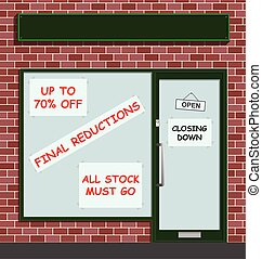 Retail shop closing down highlighting the economic pressures on high street retailing businesses with blank sign for own text
