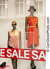 Retail Shop Window - Sale Signs in red