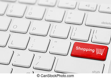 retail shopping cart icon button on a keyboard